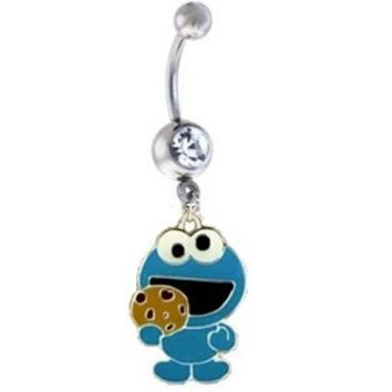 Cookie Monster BLUE Crystal Metal Enamel Cute Sexy Belly Navel Ring: Jewelry: Amazon.com