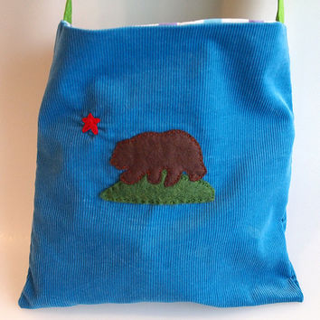 California Republic Bear Flag Tote Bag by Minor Thread Upcycled Vintage Fabric