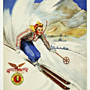 Skiing Crawford Notch New Hampshire Poster