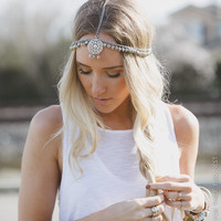 BOHO Head Piece, Head Chain, Boho Headband, Coachella, Bohemian, Headpiece, Silver, Hanging Head Piece, Adjustable (PNM-HB-080)