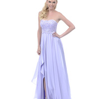 2013 Homecoming Dresses - Lilac Sequined Lace Overlay Strapless Long Dress