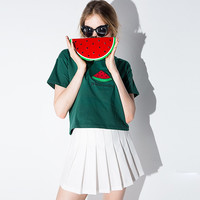 Casual Watermelon Embroidered Green Shirt