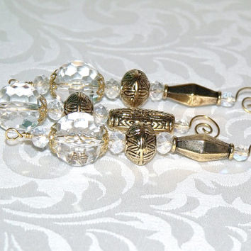 Vintage Style White and Gold Bead Icicle Ornaments – vintage Christmas, holiday decor