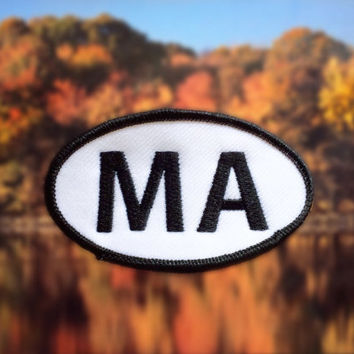 "Massachusetts MA Patch - Iron or Sew On - 2"" x 3.5"" - Embroidered Oval Appliqué - The Bay State - Black White Hat Bag Accessory Handmade USA"