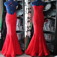 red backless long elegant maxi dress.   maxi dress sexy dress long prom dresses.  Criss Cross Backless Evening Gown Sexy Mermaid deb dress.