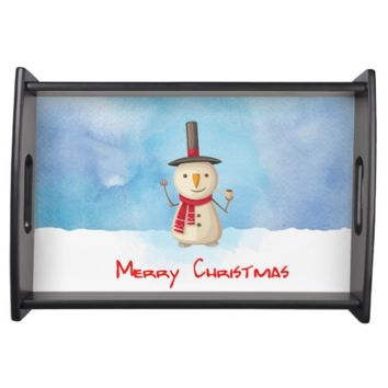 Merry Christmas Snowman Waving And Smiling Serving Tray