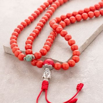 Red Bamboo Coral Stone Mala
