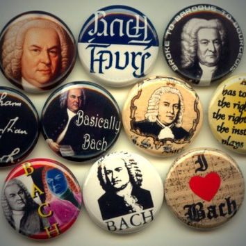 "BACH Classical Music Composer 10 Pinback 1"" Buttons Badges Pins"
