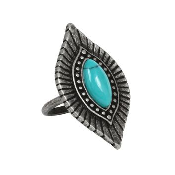 Go West n' Wild Ring in Turquoise and Antique Silver