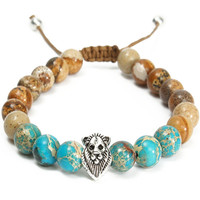8mm Jasper Lava Stone Lion Head Beaded Bracelet