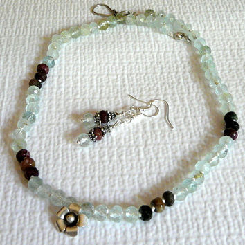 Aquamarine Necklace Earring Set, Gemstone Jewelry, Sterling Tourmaline, Hill Tribe Silver, Handmade Jewelry, Necklace Set, Artisan Jewelry,