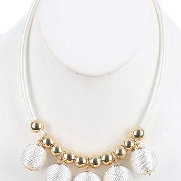 White Color Cord Wrapped Chunky Ball Fringe Bib Necklace