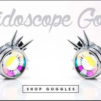 GloFX Chrome Spike Kaleidoscope Goggles with Kaleidoscope Wormhole Lenses