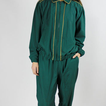 80s jogger set green sweatsuit sweat pants sweatshirt outfit set matching 2 piece loungewear jogging set tracksuit sportswear L XL OS