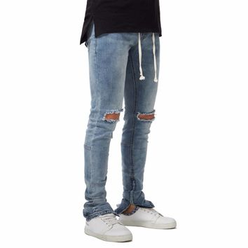 New 2018 Men Side Ankle Zipper Ripped Jeans Elastic Stretch Fashion Casual Autumn Winter  Skinny Hole Pencil Jeans