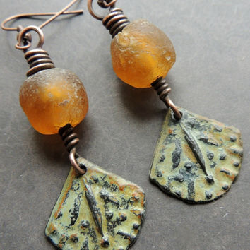 Primitive Amber Glass & Pewter Earrings