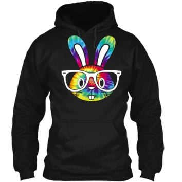 Hippie Easter Bunny Shirt - Sixties Hipster Rabbit Pullover Hoodie 8 oz