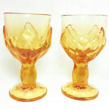 Vintage Viking Glass Lotus Leaf Pebble Leaves Wine Glasses/Orange Goblets/Heavy Glass Compote/Pressed Glass (Set of 2)