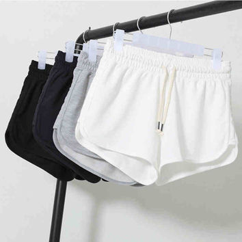Summer Street Fashion Shorts Women Elastic Waist Short Pants Women Loose Solid Soft Cotton Casual Short Femme Black Grey White