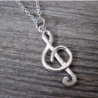 Men's Necklace - Men's Treble Clef Necklace - Men's Silver Necklace - Mens Jewelry - Necklaces For Men - Jewelry For Men - Gift for Him