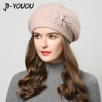 winter hats for women hat Berets with rhinestones rabbit fur hats for women's knitted beanie Thicker Women's cap beanies