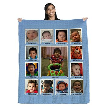 """Baby's First Year Photo Collage 50"""" x 60"""" Coral Plush Fleece Blanket"""