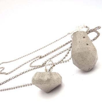 Edgy fashion necklace with 2 diamond shape concrete pendant. Diamond necklace, Statement necklace, Minimalist Jewelry, unique jewelry.