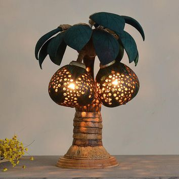 Creative Pastoral Handmade Thailand Coconut Shell Tree Led E27 Table Lamp For Hotel Bedroom Bedside Living Room Lamp 1804