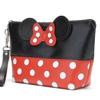 Minnie Mouse Ears style Polka dots Cosmetic Bag Travel Makeup Handbag with Zipper
