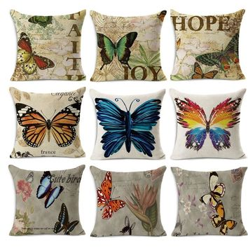 45x45cm Hot sale Euro classical style Retro Butterfly print Linen cotton decorative throw Pillow Decoration Vintage pillowcase