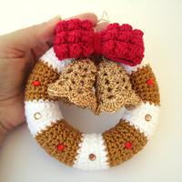 Christmas wreath in crochet, Door hanger decoration, Christmas bells - Custom for other decoration