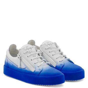 Giuseppe Zanotti Gz New Unfinished White Calfskin Leather Low-top Sneaker With Blue Flocking Patina - Best Deal Online