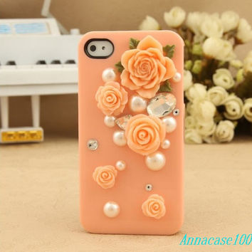 2 color  flower bling iphone5 case rose iphone case, i phone 4 4s 5 case, iphone4 iphone4s iphone5 case,cute crystal case.personality unique