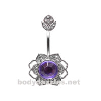 Antique Georgian Flower Belly Button Ring Stainless Steel Body Jewelry