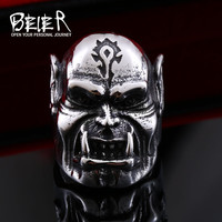 Beier 316L  Stainless Steel Punk World of Warcraft ORC Rings For Men Gothic Style Biker  High Quality Jewelry