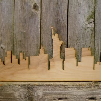 NYC New York City Skyline- laser cut wood sign