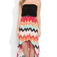 Strapless Dress with Crochet Bodice and Tribal Chevron High Low Skirt