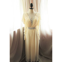 Egyptian Cleopatra Goddess Soft French Cream Autumn Fall Romance Dreamy Alice in Wonderland Flowy Angel Marie Antoinette Gown