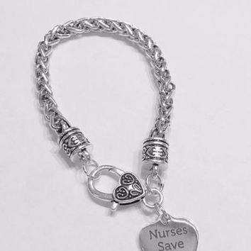 Nurses Save Lives Nurse Gift RN LPN Caduceus Medical Graduation Charm Bracelet