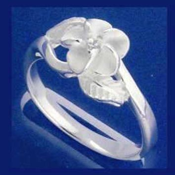 STERLING SILVER 925 HAWAIIAN PLUMERIA FLOWER MAILE LEAF RING SIZE 3 - 10