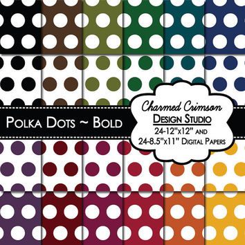 Bold Digital Paper, Polka Dots Digital Paper, Digital Pattern, Red Digital Paper, Yellow Orange Red Purple Blue Teal Green Olive Black Brown
