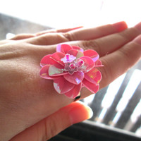 Sequin Flower Ring, Pink, Floral Jewelry, Adjustable, Mother's Day Gift