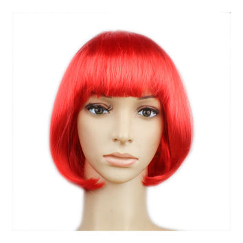 Women's Sexy Short Bob Cut Fancy Dress Wigs Play Costume Ladies Full Wig Party  red
