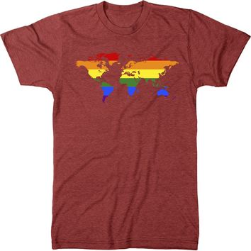 Pride World Map Mens Modern Fit Tri-Blend T-Shirt