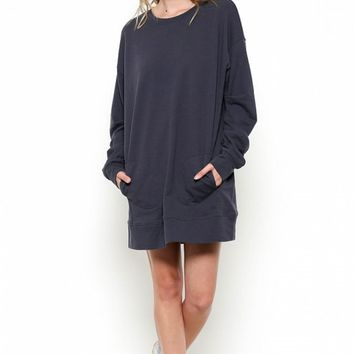 Oversized Sweatshirt Dress with Pockets