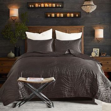 Cool Cotton Palace Quilted comforter queen king 3pcs bedspreads satin silk Bedcover soft and luxury coverlet setAT_93_12