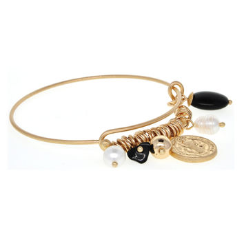 Dear Deer Copper Tone Cross&Jecus Adjustable Wire Bangle Bracelet
