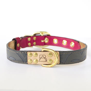 Hot Pink Dog Collar with Gray Leather + Navy Stitching
