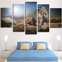 2016 New Sale UnFramed Printed Animals Lion Group Wall Painting Living Room Decoration Pictures Print Painting Picture Canvas