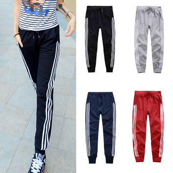 Womens Basics Pants Three Vertical Stripe Slacks Ladies Girls Sweat Pants